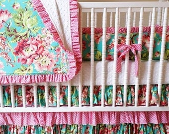 MADE to ORDER- 4 piece Crib Bedding Set- Girl Baby Bedding Set- Bliss Bouquet