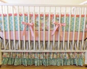 Girl Crib Bedding- Bird Baby Bedding- Pink and Gray Bedding MADE to ORDER- 3 piece Crib Bedding Set- Girl Baby Bedding Set-