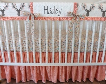 BUMPERLESS Crib Bedding- Baby Bedding- MADE to ORDER- Going Stag