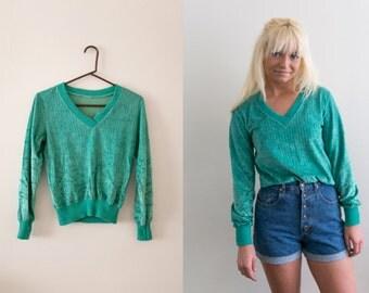 Velour Sweatshirt 80s Shirt / Crushed Velvet V neck Sweater / Blue Green Turquoise Long Sleeve Teal 90s Grunge 70s Boho Jumper Small Medium