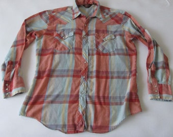 Vintage 70s BJ-R Men's Long Sleeve Pearl Snap Button Western Plaid Shirt Soft Thin Woven LG
