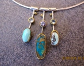Turquoise Blue Topaz Amethyst Sterling Silver  Necklace