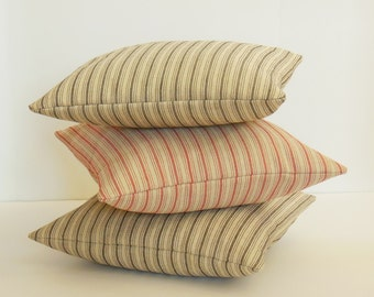 Red Ticking Pillow, Ticking Stripe Pillow Cover, Rustic Home Decor