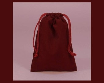 1 - 3 x 4 inch Burgundy Velour Bag for Gift Packaging