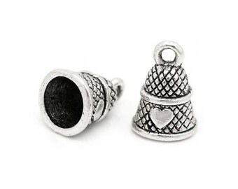 10 Thimble Charms in Silver Tone - C2286