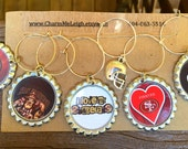 Set of 6 San Francisco 49ers Girl inspired wine glass charms for the wine lover in your life.... customize