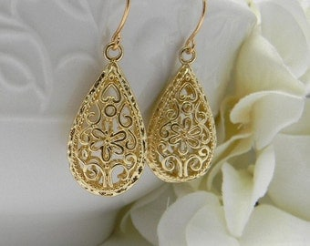 Gold Earrings, Floral Earrings, Everyday Earrings, Gold Dangle Earrings, Bridesmaid Earrings, Gift For Her