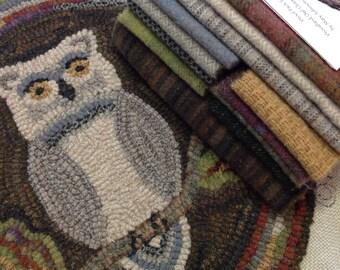 "Rug Hooking KIT, Woodland Owl Chair Pad or Table Mat, 14"" Round, J898, Primitive Rug Hooking Kit, Folk Art Owl"