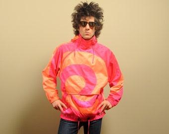 vintage 80s 90s neon windbreaker Obermeyer ski jacket pink orange hooded ski parka 1980s 1990s gortex medium large M L