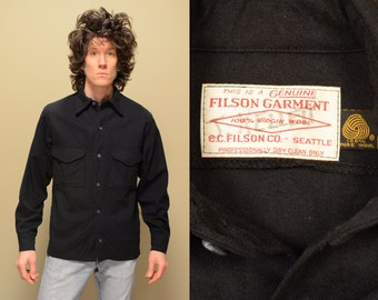 vintage 70s 80s Filson wool work shirt black wool shirt-jac winter shirt hunting camping jac-shirt 100% wool medium M large L