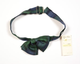 vintage bow tie Brooks Brothers plaid blackwatch silk bow tie small petite women child NOS deadstock 80s 1980 vintage bowtie