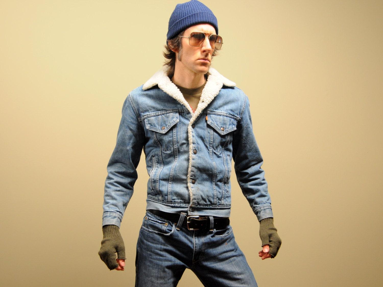 Flannel Motorcycle Jacket >> vintage Levis trucker jacket sherpa lined denim jacket 70s
