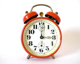French vintage orange clock JAZ Clock  clock. Vintage 1960. Metal alarm clock. Loft deco. Desk accessory. Clock 60s