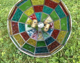 Vintage Multi-Color Stained Glass Swag Pendant Light