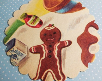 The Gingerbread Man - 13 Pcs - Scalloped Circle Ephemera - Vintage Book Paper