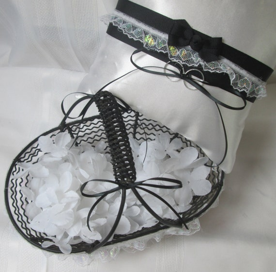 Unique Black And White Wedding Set Of Ring Bearer Pillow And