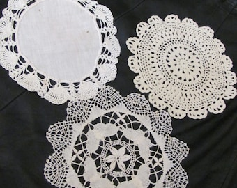 Lot of 3 Assorted Pretty Vintage Linen Crocheted Round Doily Doilies  - #8A