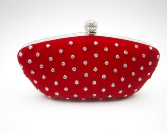 Vintage Red Velvet Evening Bag Formal Clutch Purse Rhinestone Studded Silver Tone Handbag Plush Fabric Ball Encrusted Lock Cocktail Pouch