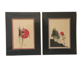 Vintage pair of James Pollock signed Prints in original shrink wrap, South Dakota Silhouettes Cattails and Forest landscape, c1980s