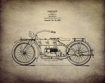 Harley Davidson Motorcycle Art - 1919 Design Patent Print - Your Choice of Canvas or Paper - Man Cave Art, Motorcycle Decor, Harley Art