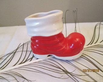 Vintage Santa Boot, Christmas Shelf Sitter, Christmas Candy Boot
