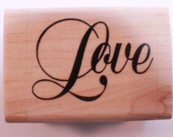 Stampington And Co Wooden Rubber Stamp Cursive Love writing word Romance