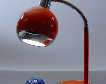 Orange Gooseneck Task Lamp from Hamilton Industries, 1970s.