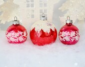 Red Vintage Christmas Ornaments Snow Capped Frosted White Mica Stenciled Holly Berries Shiny Brite Set of 3 Three 1950's