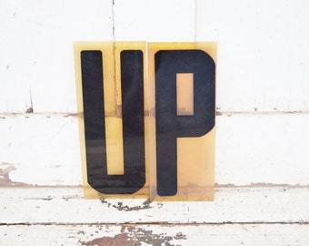 """Vintage UP Sign Marquee Word Letters Plastic Black 9"""" Acrylic Positive Outlook Direction"""