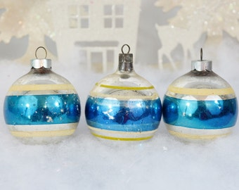 Blue Striped Vintage Christmas Ornaments Silver White Yellow Striped Set of 3 Three 1950's