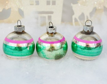 Small Vintage Christmas Ornaments Pink Silver Green Striped Shiny Brite Set of 3 Three 1950's