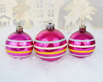 Magenta Pink Vintage Christmas Ornaments Striped Yellow Aqua Fuschia Shiny Brite Set of 3 Three 1950's