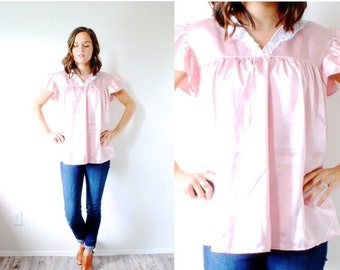30% OFF out of town SALE Vintage boho pink silk lace top // pink silk blouse // slouchy top // summer boho blouse // silky pink blouse // ni