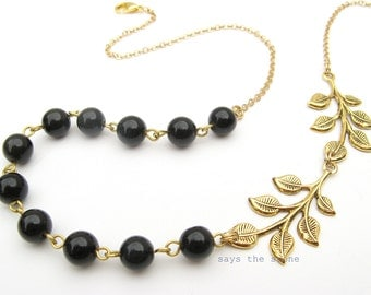 Black gold leaf statement necklace-asymmetrical gemstone necklace-gold leaves-rustic wedding-gold leaf necklace-bridesmaid jewelry