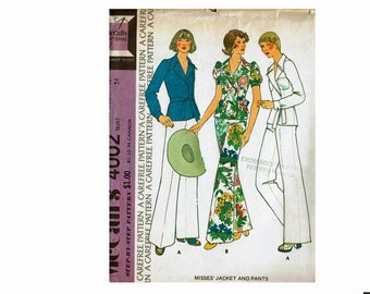 1970s Size 12 Bust 34 Jacket and Pants Front wrap tie Puffed Sleeves 70s Uncut Sewing Pattern McCalls 4002