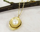 Bridal Gold Necklace with Ivory Pearl