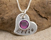 GIRLS BIRTHSTONE NECKLACE, Girls Name Necklace, Birthstone Jewelry, Personalized Name, Gift for Sister, Gift for Girl, Gift for Daughter