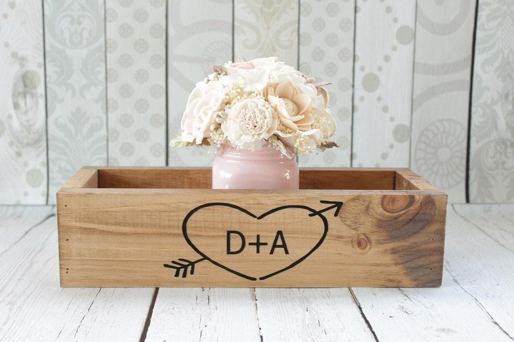 Rustic wood planter box centerpiece wedding