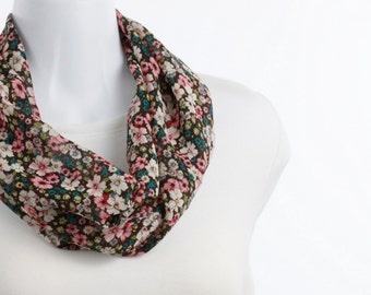 Short Infinity Scarf Playful Floral Sheer Pink, Cream and Black ~ SH246-S5