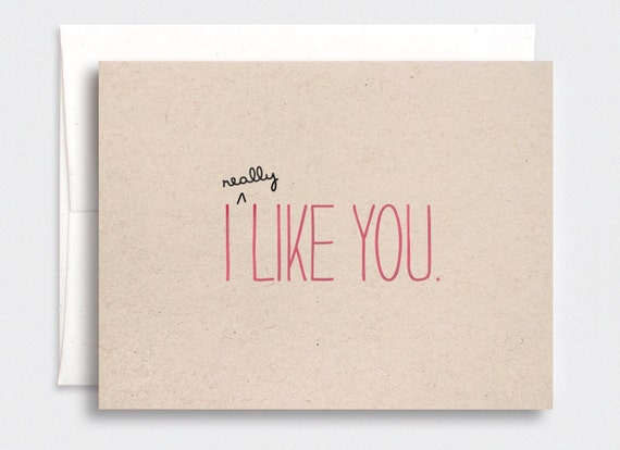 Funny Anniversary Card, I Like You Card - Valentine Card, Cute Anniversary Card, Brown Recycled Card, Pink - For Him, Her
