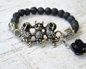 BLACK LAVA OWL Bracelet Antique Brass Owls Black Lava Beads Stretch Charm Bracelet Rose Charm