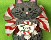 Holiday, Christmas, ornament, Cat ornament, Personalized Cat Christmas Ornament-Embroidered Stuffed Felt