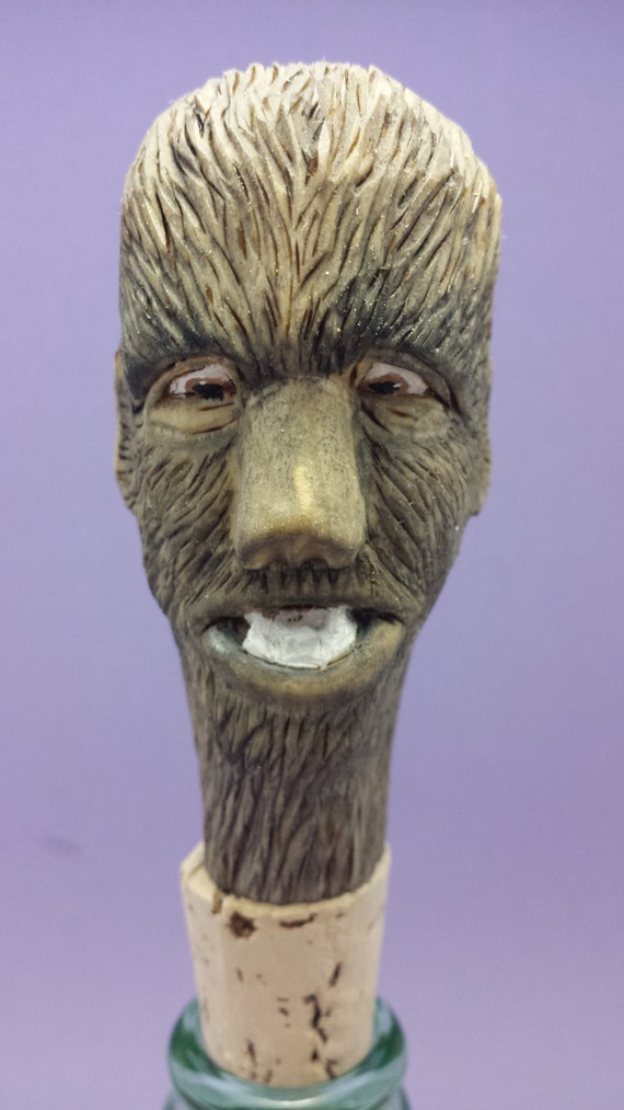 Hand carved bottle stopper spooky Wolfman Halloween wood carving gift for him/her OOAK collectible caricature bar decor Old Bear Woodcarving