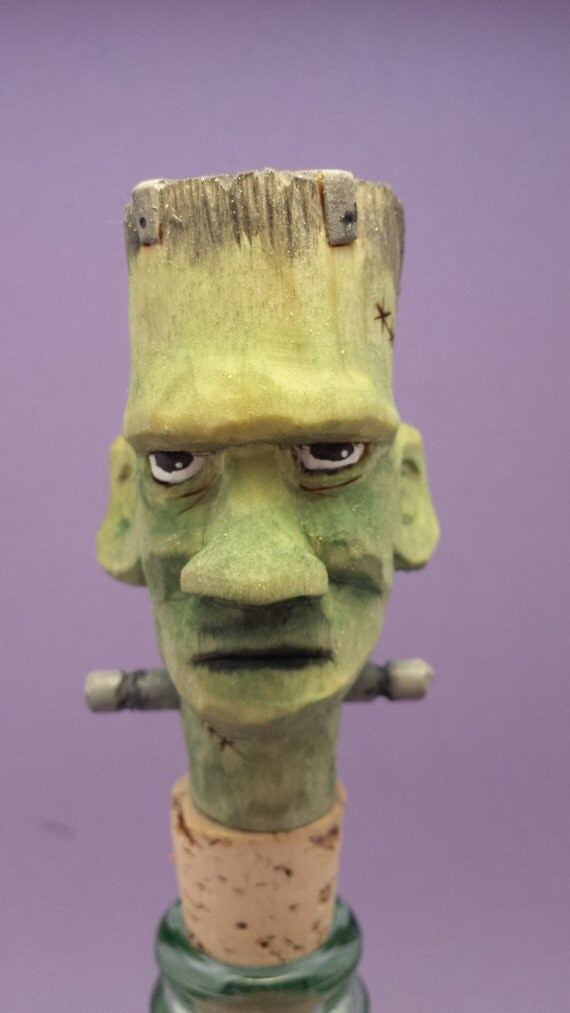 Hand carved bottle stopper  Frankenstein Halloween OOAK wood carving gift for him/her collectible caricature bar decor Old Bear Woodcarving