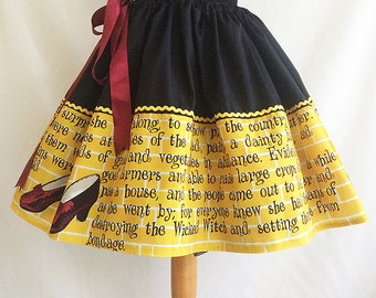 Dorothy,Yellow Brick Road, Quotes, Books, Wizard Of Oz Skirt,Wizard Of Oz,  Book Skirt, By Rooby Lane
