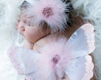 Pink Sequins Marabou Feathers and Vintage Crystal Preemie Newborn Sequin and Flowers Butterfly Wings & Headband Set Photo 1st Photos