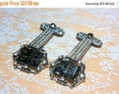 MOVING SALE Half Off Interesting Pair of Ornate Smoky Brown Glass and Rhinestone Large Dangle Shoe Dress Clips