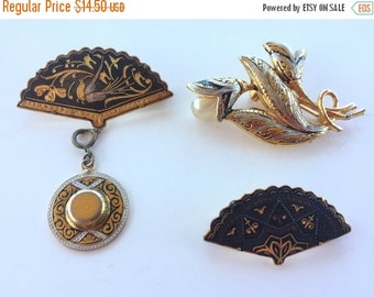 MOVING SALE Half Off Destash Craft Lot of  Black and Gold Vintage Damascene and Siam Jewelry Parts and Pieces for Assemblage or Repair