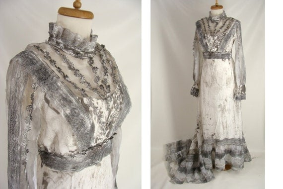 Corpse Bride Wedding Gown: BLOOD Tatters & Spiders OPTIONAL Vintage 70s Edwardian