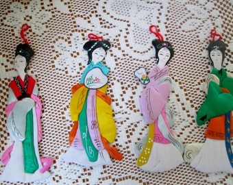 Vintage Silk Chinese Lore Immortal Ornaments
